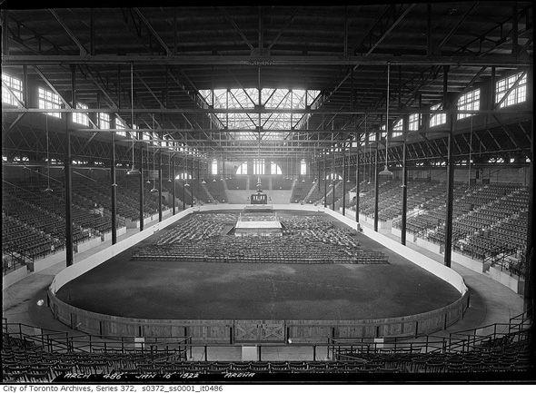Inside Ricoh Coliseum (then known as the Civic Arena/The Coliseum), circa 1922.