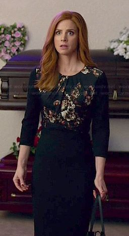 Donna's black floral panel dress on Suits.  Outfit Details: http://wornontv.net/46436/ #Suits