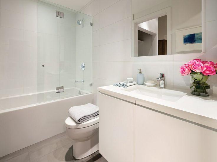 Bathroom in light colour scheme.