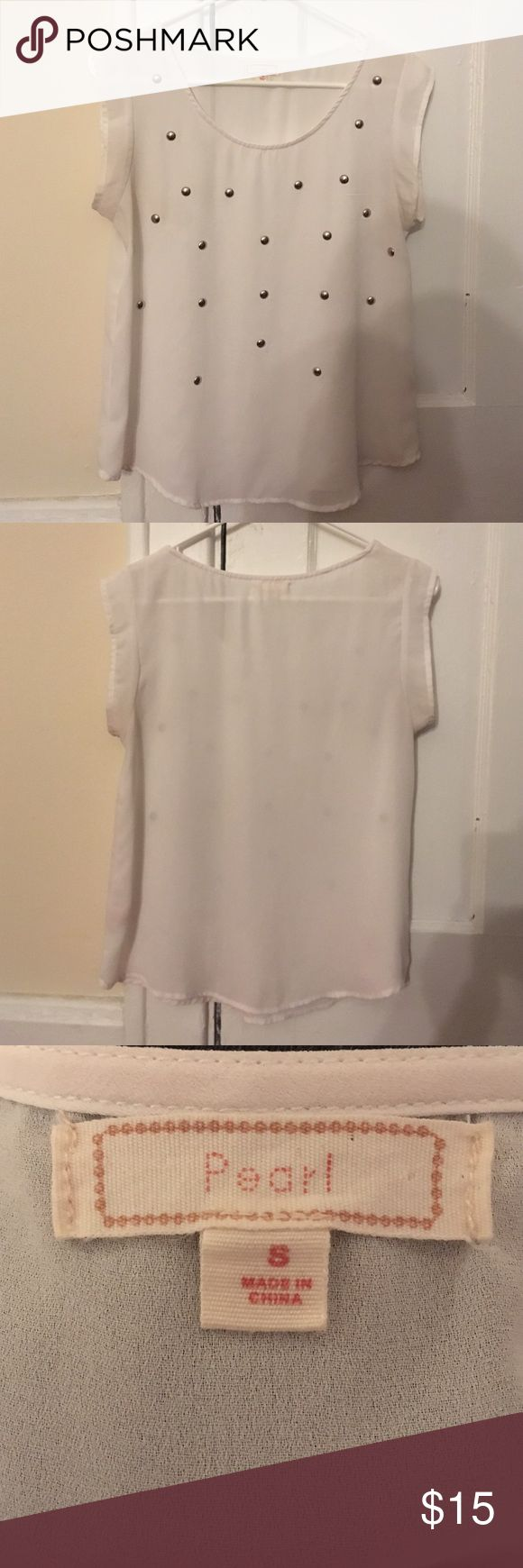 Short sleeve dress shirt Great dress shirt! Goes well with anything. Sheer white fabric with metal studs Pearl Izumi Tops Blouses