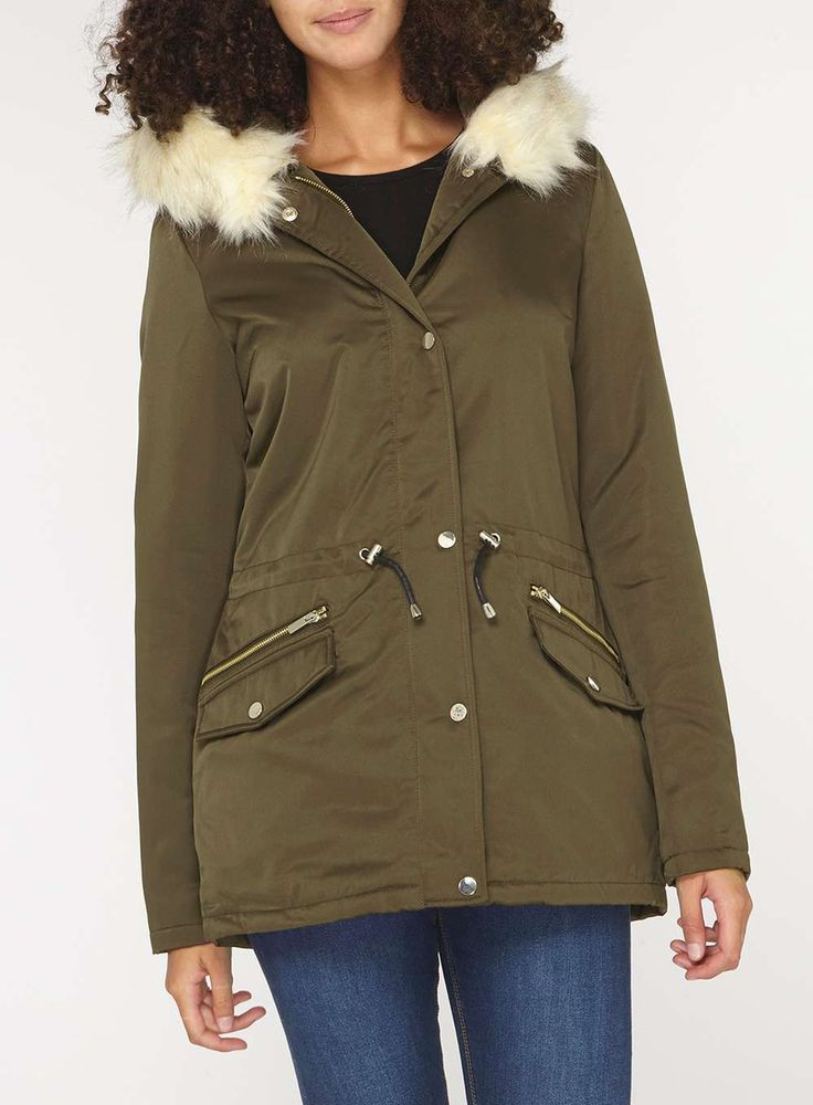 Womens **Tall Olive Green Faux Fur Parka- Green