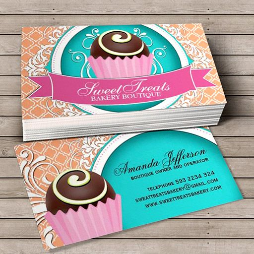 72 best visiting card design images on pinterest business cards chic and elegant cake bites business cards you can customize this card with your own text logo photo or use this pre existing template for free reheart Choice Image