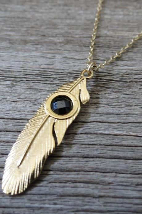 Men's Necklace - Men's Feather Necklace - Men's Gold Necklace - Mens Jewelry…