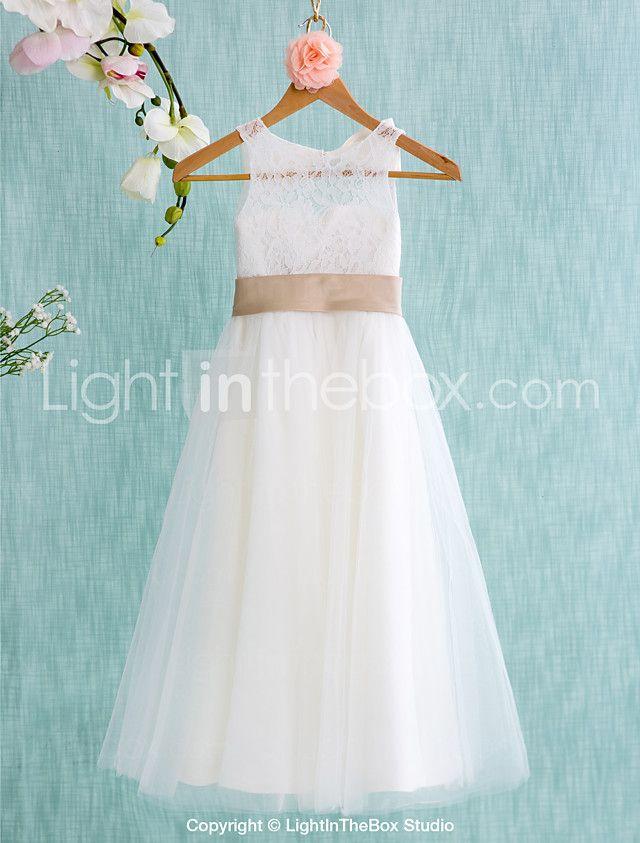 Lanting sposa ® una linea di abiti da tè lunghezza ragazza di fiore - pizzo / tulle maniche gioiello del 2017 a ₣64.79