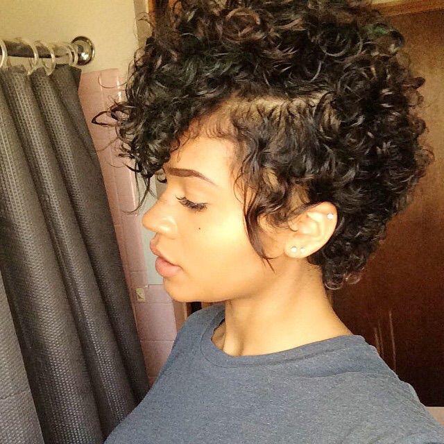 Curly faux hawk