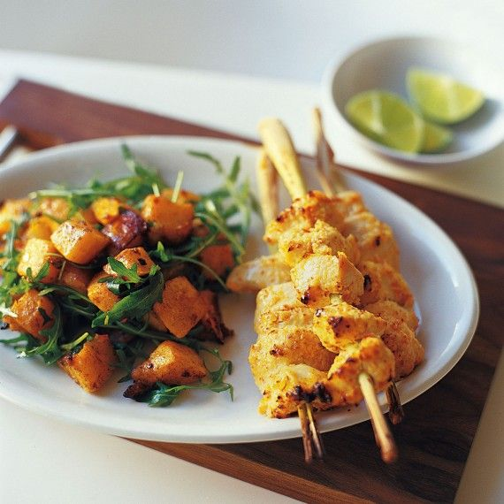 Lemongrass chicken skewers with spicy squash salad has a lovely Asian ...