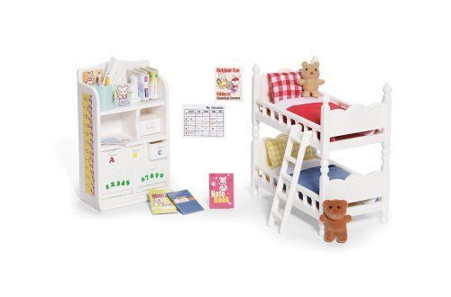 Childrens Bedroom Furniture Toy 2 Single Beds Mattresses Blankets Pillows Toys #CalicoCritters