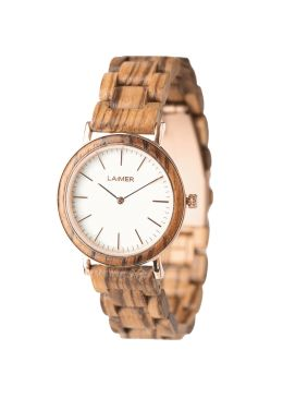 The model LEONA is an amazing accessory for sunny days. The light Zebrano wood perfectly fits the white marble dial and the graceful rose golden bordering. Thanks to the extra thin design, the watch is light as a feather and comfortable to wear. An absolute eye-catcher on the wrist that combines different natural materials.