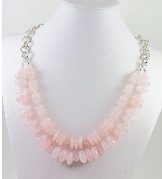 Think Pink Rose Quartz Necklace Multi by AlwaysBeadBeautiful