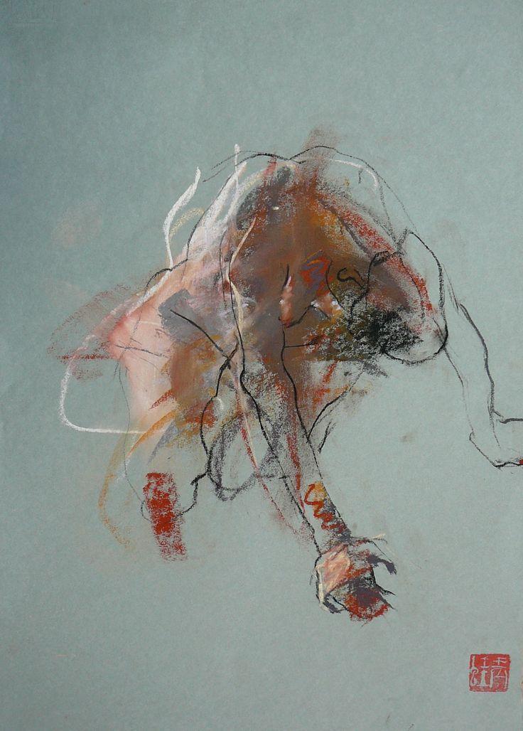 Caroline Deane/ ' Linear Rhythm' pastel 35x48cm