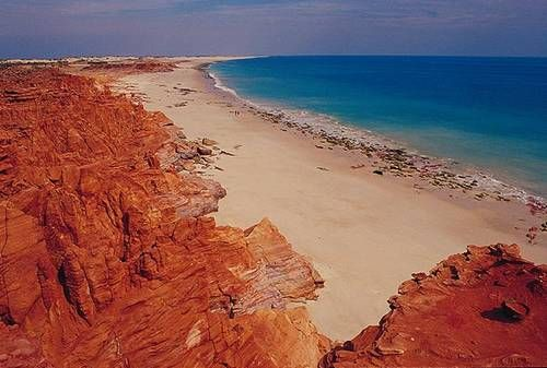 Australia. This is one of the beaches on the western side of Cape Leveque, part of the remote Dampier Peninsula north of Broome. You do need a four wheel drive to get up here.     The Dampier Peninsula is the place to go if you are looking for quiet Australian beach holiday retreats in the Australian Outback.