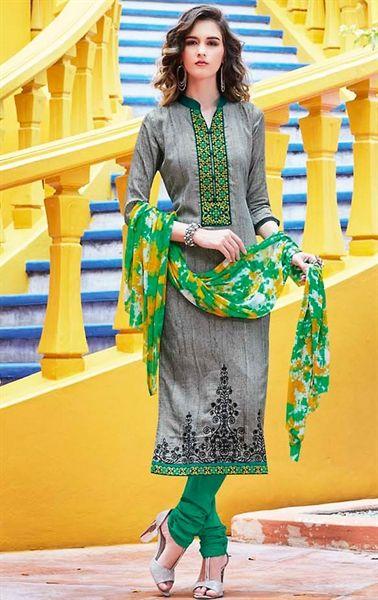 Picture of Harmonious Gray Cotton Salwar Kameez