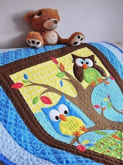 """Детское одеяло """"Совушки"""" - рисунок,дети,мальчик,покрывало,одеяло детское"""