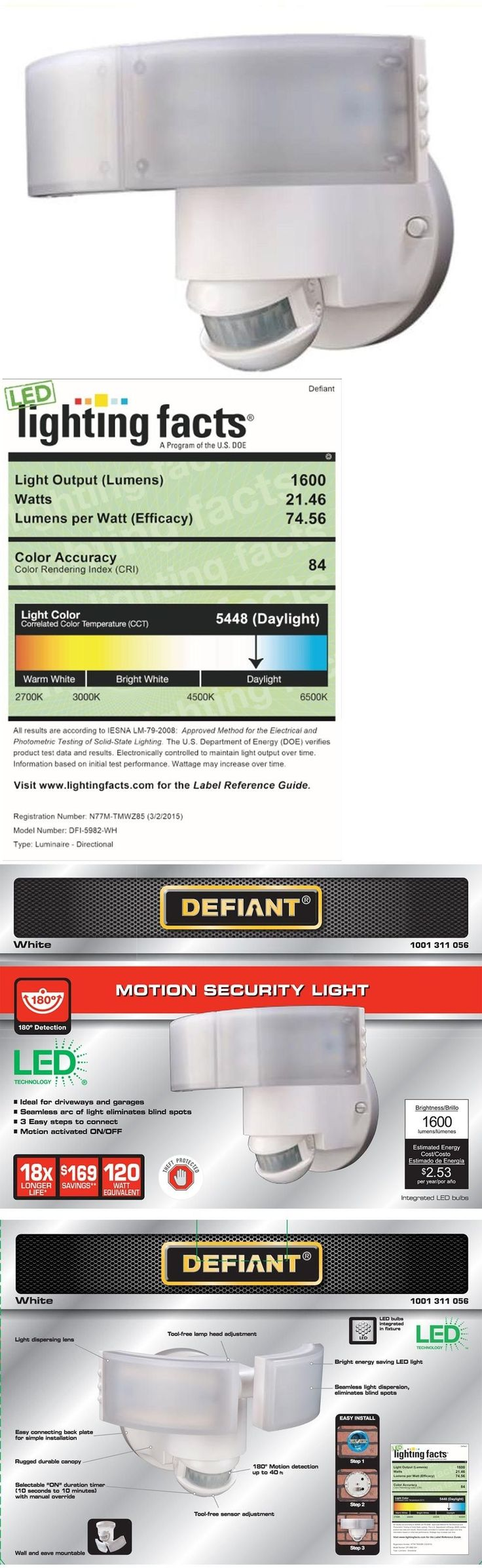 Outdoor Security and Floodlights 183393: Led Outdoor Security Light 180 Degree Motion Sensor Spot Lights Dusk To Dawn New -> BUY IT NOW ONLY: $90.96 on eBay!