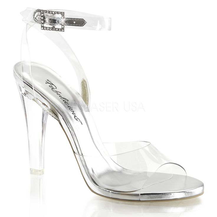 Fabulicious Clear Lucite Shoes 4 Inch Heel, Wrap Around Ankle Strap Sandal