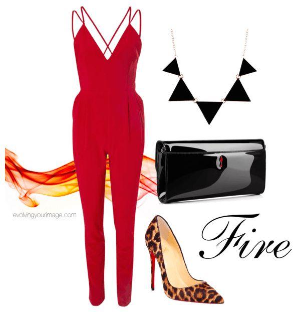 """""""EnergiaFuoco: sei una persona cheama divertirsi ad ogni occasione! Per questo San Valentino scegli una tuta aderente e dallo scollo particolare che ti permetterà di sentirti sexy senza dover scoprire troppo il tuo corpo. Le forme angolari dello scollo e della collana, le scarpe dalla stampa animalier e la borsa in materiale lucido sono perfetti per rafforzarela tua energia naturali.""""  #elementofuoco #modaefengshui #fashion #fengshui"""