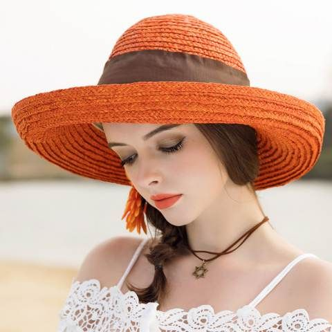 Crimping wide brim straw hat with bow womens beach UV protection sun hats