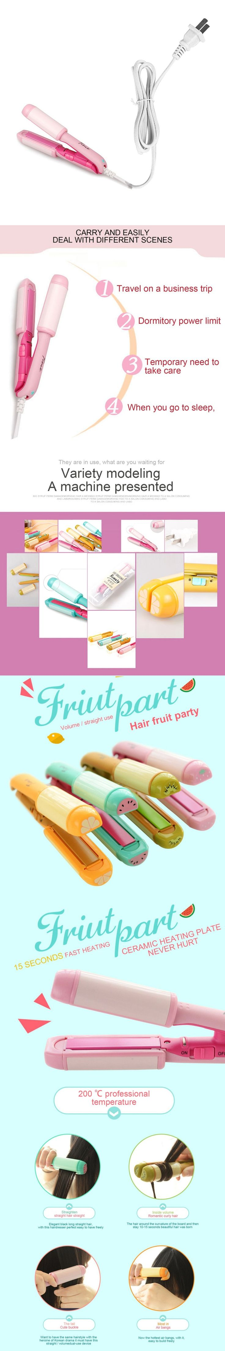 Mini Cute Fruit Style Straightening and Curling Irons Portable Hair Curler Electric Hair Straightener 220V Top Sale