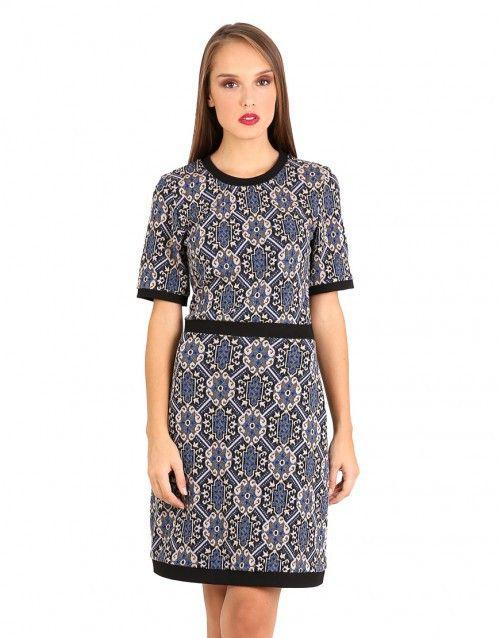 Οριεντάλ ζακάρ φόρεμα σε Α γραμμή - Μπλε & Πολύχρωμο