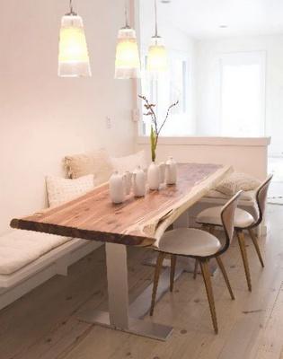 mesa de madeira + banco