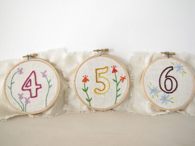 Embroidery Hoop Wedding Table Numbers with Hand Embroidered Flowers