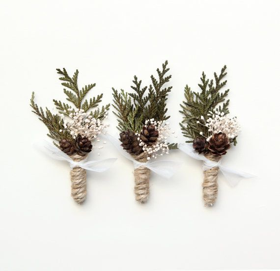Wedding boutonniere groomsmen button hole Woodland by whichgoose                                                                                                                                                                                 More