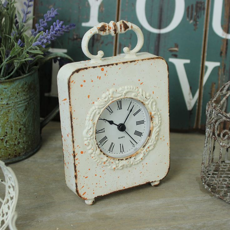 Distressed Cream Mantel Clock