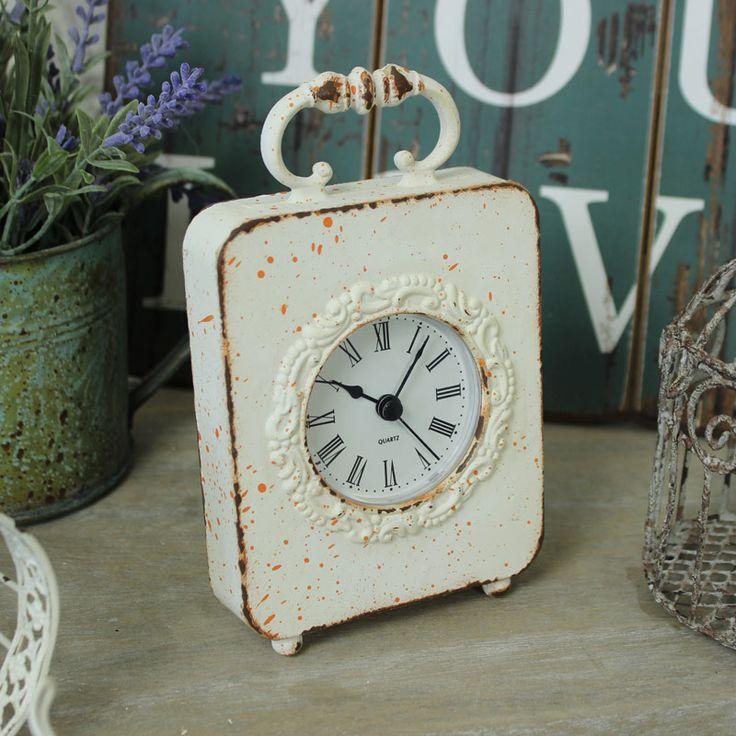 Distressed Cream Mantel Clock