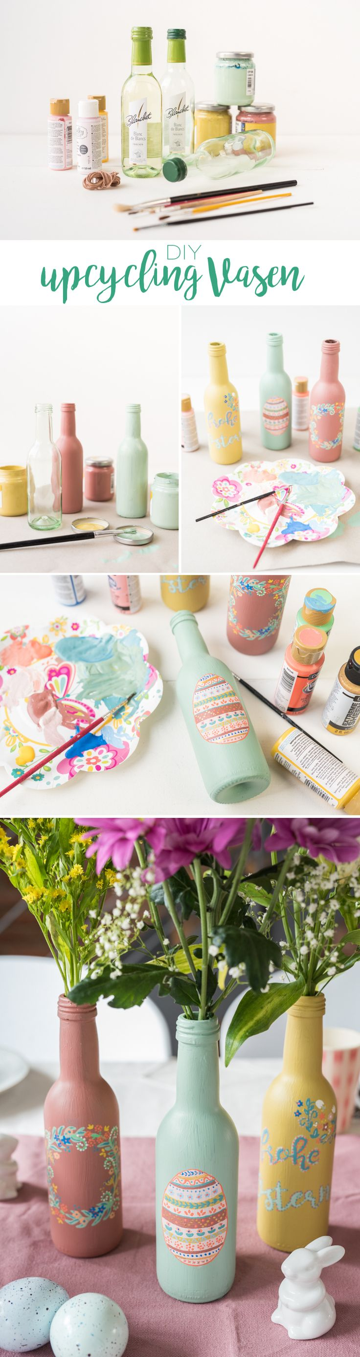 DIY – table decoration for Easter: upcycling flower vases from bottles  #bottles #decoration #easter #flower #table #upcycling #vases Easy Idea