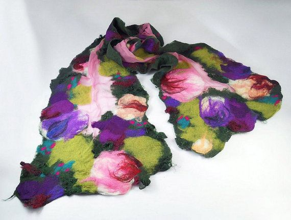 Felted Scarf  Wrap Scarve  Light Felt Nunofelt Nuno by filcant, $119.00