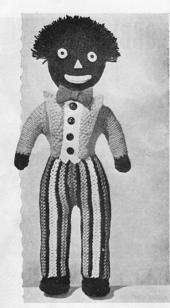 Vintage Knitting Patterns Toys : Instant Download, Gollywog, Knitting Pattern, PDF, Vintage Toy Pattern, Knitt...