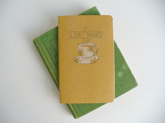 illustrated moleskine notebook  lovely thoughts by MessyBedStudio, $12.00 #mothersday #mom #tea