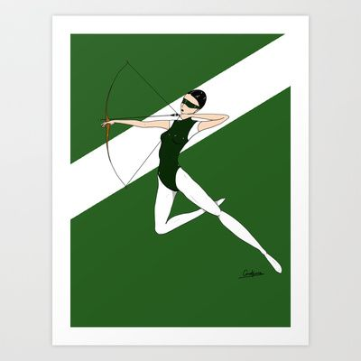 Green archer Art Print by Constance Macé - $14.48