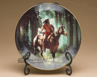 Native America Collector Plate & Stand from The Hamilton Collection, Mystic Warriors - Sun Seeker, by Chuck Ren (plt30)