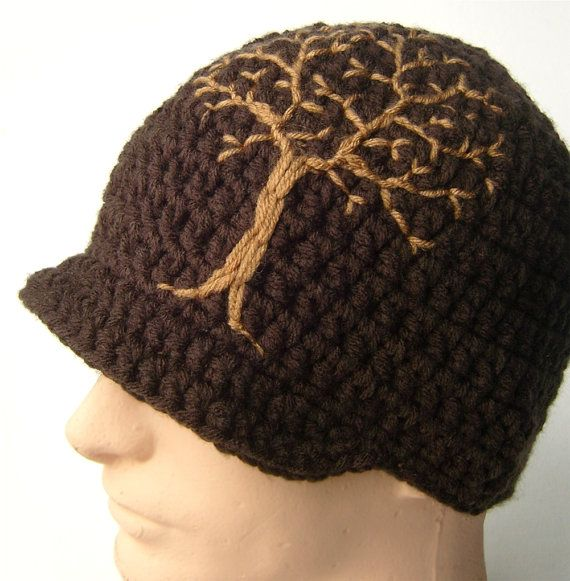 Brimmed Beanie with Tree Design - Dark Brown and Tan - Made to Order. $37.00, via Etsy.