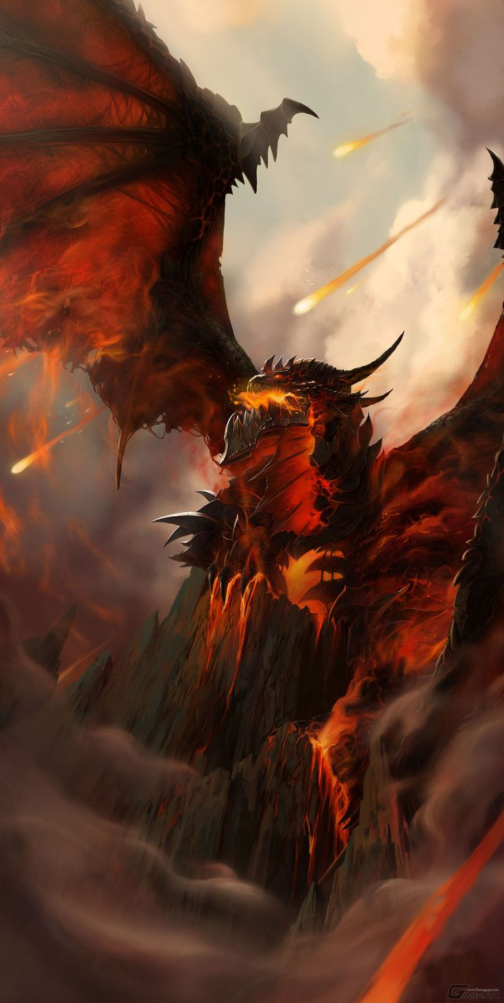 Red Fire Dragon: Lava And Dragon