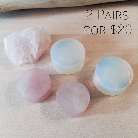 Smooth Double Flared Stone Plugs Rose Quartz by PlugClubMidtown