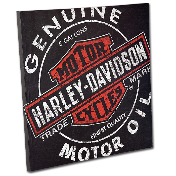 Harley-Davidson® Oil Can Canvas Print  http://bikerathome.com/game-tables/wall-decor/harley-davidson-oil-can-canvas-print.html