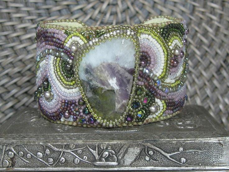 Tourmaline beaded cuff bracelet by TheCharmedRabbit on Etsy. , via Etsy.