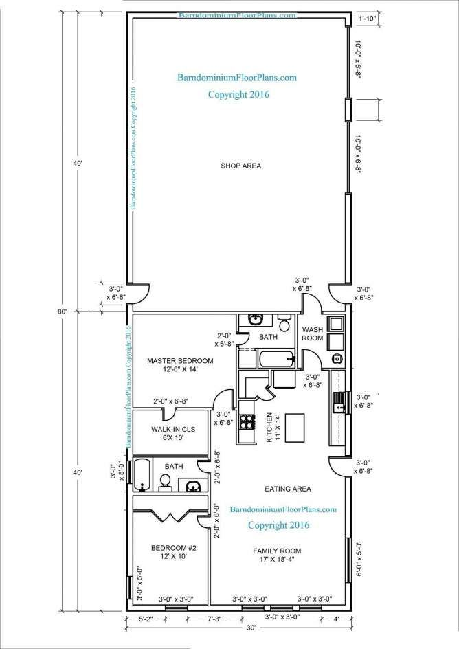 Metal Shop With Living Quarters Floor Plans And Barndominium Floor Plans For Different Purp Barndominium Plans Pole Barn House Plans Barndominium Floor Plans