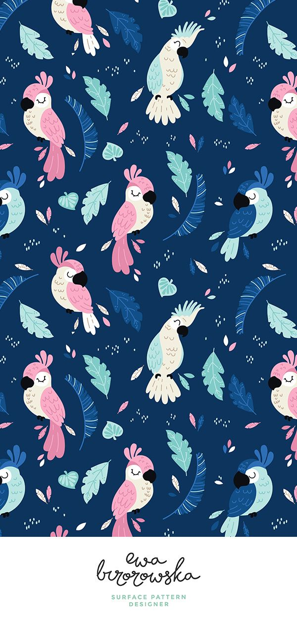 Colorful Fabrics Digitally Printed By Spoonflower Jungle Parrots Navy Phone Wallpaper Flower Phone Wallpaper Ipad Wallpaper Watercolor