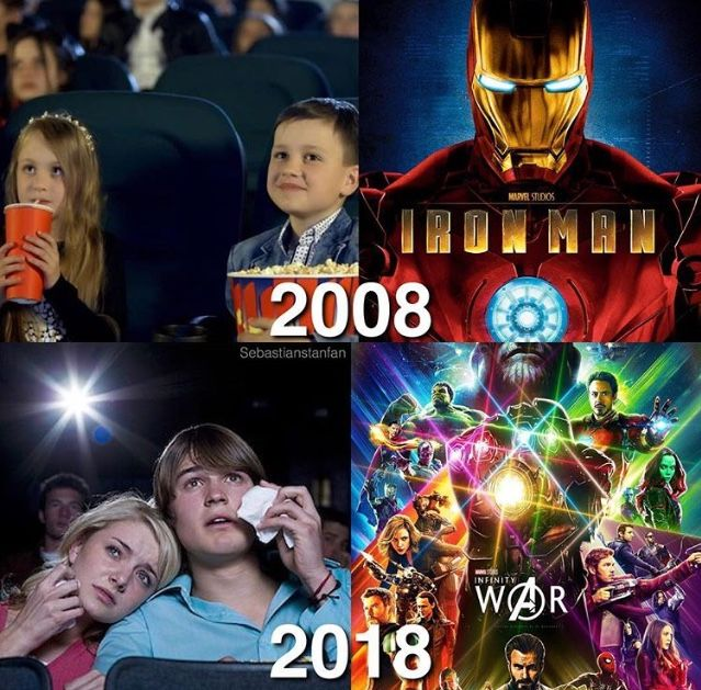 Marvel then and Marvel now 😭😭😭☺☺☺