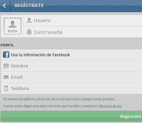 formulario de registro instagram
