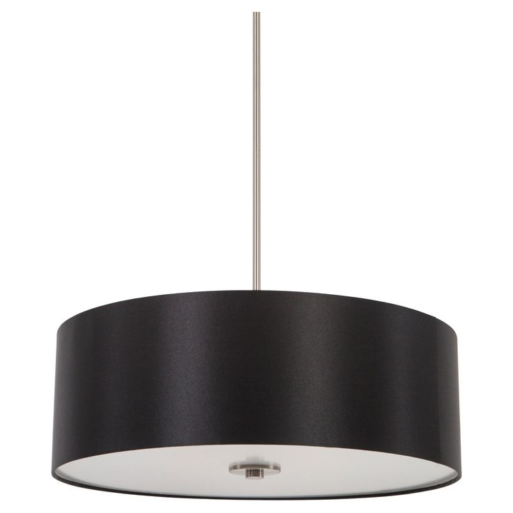 The Lyell Forks Collection by Yosemite Home Decor offers contemporary style, sleek sophistication, and new age designs with its Pendant collection. Perfect for entryways, dining rooms, hallways, and game rooms this fixture is sure to add spunk to any room and its decor. This contemporary pendant lighting is featured with a Black Stealth circular shade and Satin Steel hardware. It requires four (4) incandescent medium (E26) base bulbs at a recommended maximum of 100-watts.