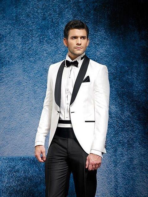 Novio trajes de novia traje para hombre 2015 blanco para hombre trajes esmoquin novio de la boda, adaptado 2 unidades traje, chal negro de solapa M04