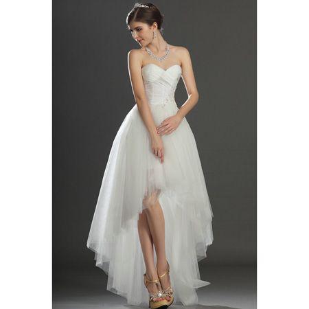 Modern ivory strapless sweetheart tulle high low wedding for High low sweetheart wedding dress
