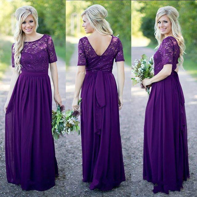 Roxo elegante Chiffon longo da dama de honra vestidos de manga curta Lace frisada A linha de colher casamento Formal Wear Vestido madrinha
