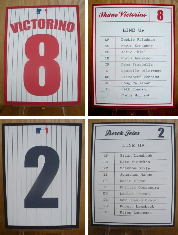 Centerpiece ideas and favors... New York Yankees baseball theme wedding :  wedding Yankees Seating Chart