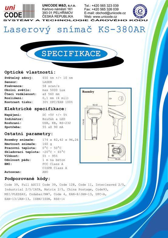 Laserový snímač KS 380AR strana 2 Laser Scanner KS 380AR page Nr. 2