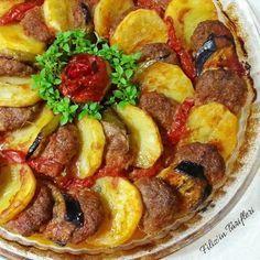 Fırında Patatesli Patlıcanlı Köfte Malzemeleri: 3 adet orta boy patates 2 adet patlıcan Domates Biber Sarımsak Köftesi için; 700 gr kadar kıyma (büyük boy borcamda